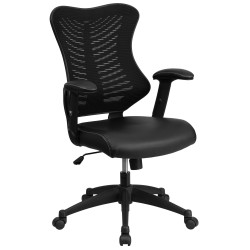 High Back Black Mesh Chair with Leather Seat and Nylon Base