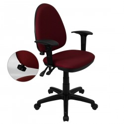 Mid-Back Burgundy Fabric Multi-Functional Task Chair with Arms and Adjustable Lumbar Support
