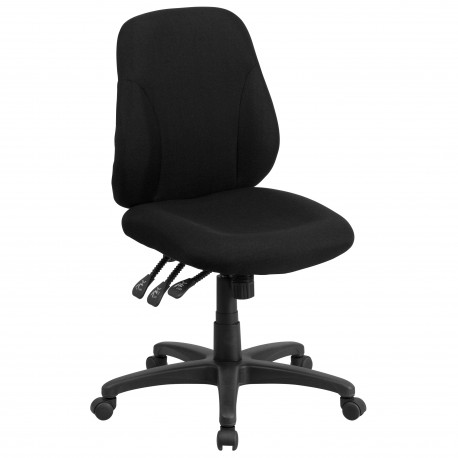 Mid-Back Black Fabric Multi-Functional Ergonomic Chair
