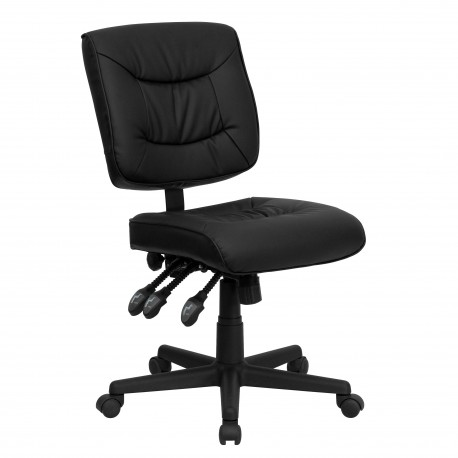 Mid-Back Black Leather Multi-Functional Task Chair
