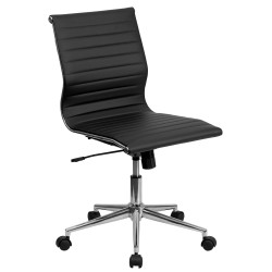 Mid-Back Armless Black Ribbed Upholstered Leather Conference Chair