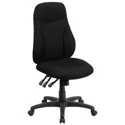 High Back Black Fabric Multi-Functional Ergonomic Chair