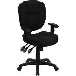 Mid-Back Black Fabric Multi-Functional Ergonomic Task Chair with Arms