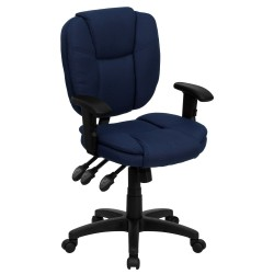 Mid-Back Navy Blue Fabric Multi-Functional Ergonomic Task Chair with Arms