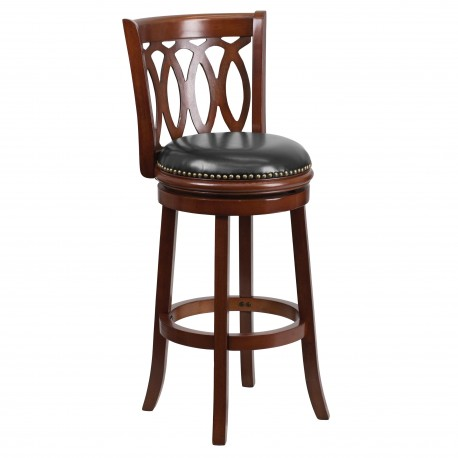 29'' Cherry Wood Bar Stool with Black Leather Swivel Seat