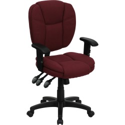 Mid-Back Burgundy Fabric Multi-Functional Ergonomic Task Chair with Arms