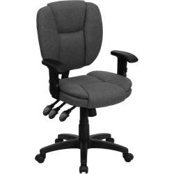 Mid-Back Gray Fabric Multi-Functional Ergonomic Task Chair with Arms