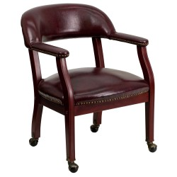 Oxblood Vinyl Luxurious Conference Chair with Casters