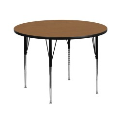 42'' Round Activity Table with Oak Thermal Fused Laminate Top and Standard Height Adjustable Legs