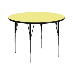 42'' Round Activity Table with Yellow Thermal Fused Laminate Top and Standard Height Adjustable Legs
