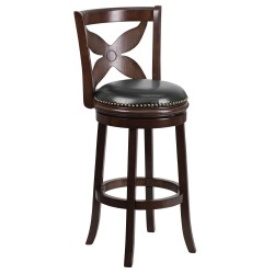 29'' Cappuccino Wood Bar Stool with Black Leather Swivel Seat