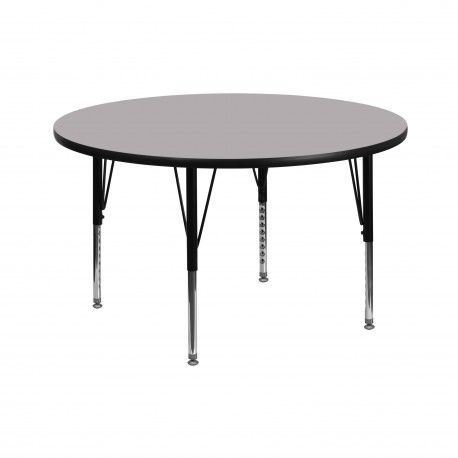 42'' Round Activity Table with Grey Thermal Fused Laminate Top and Height Adjustable Pre-School Legs