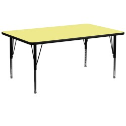 30''W x 72''L Rectangular Activity Table with Yellow Thermal Fused Laminate Top and Height Adjustable Pre-School Legs