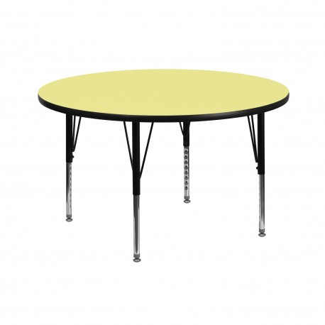 42'' Round Activity Table with Yellow Thermal Fused Laminate Top and Height Adjustable Pre-School Legs