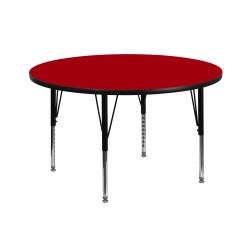 42'' Round Activity Table with Red Thermal Fused Laminate Top and Height Adjustable Pre-School Legs