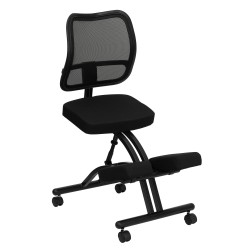 Mobile Ergonomic Kneeling Chair with Black Curved Mesh Back and Fabric Seat