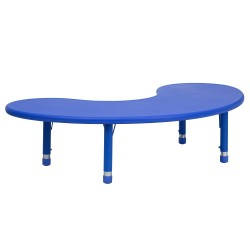 35''W x 65''L Height Adjustable Half-Moon Blue Plastic Activity Table