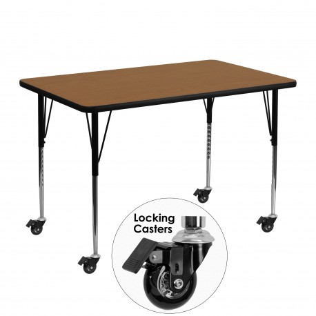 Mobile 30''W x 48''L Rectangular Activity Table with Oak Thermal Fused Laminate Top and Standard Height Adjustable Legs