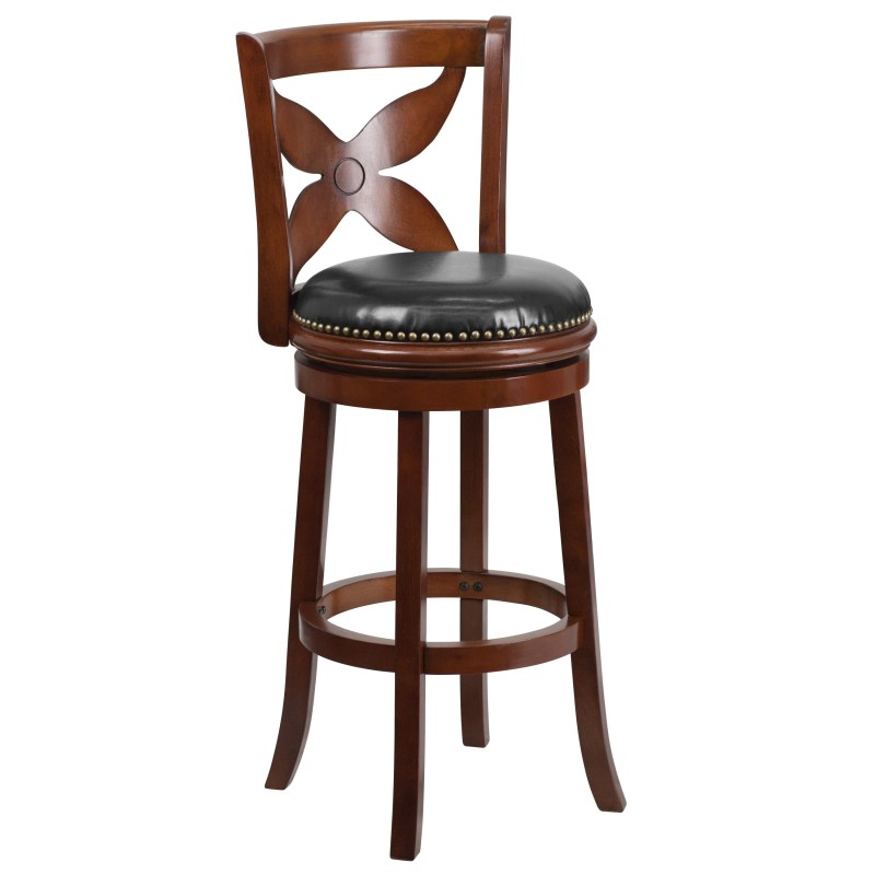29 Cherry Wood Bar Stool With Black Leather Swivel Seat
