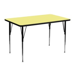 30''W x 48''L Rectangular Activity Table with Yellow Thermal Fused Laminate Top and Standard Height Adjustable Legs