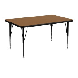 30''W x 48''L Rectangular Activity Table with Oak Thermal Fused Laminate Top and Height Adjustable Pre-School Legs