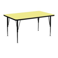 30''W x 48''L Rectangular Activity Table with Yellow Thermal Fused Laminate Top and Height Adjustable Pre-School Legs