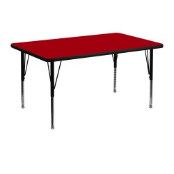 30''W x 48''L Rectangular Activity Table with Red Thermal Fused Laminate Top and Height Adjustable Pre-School Legs