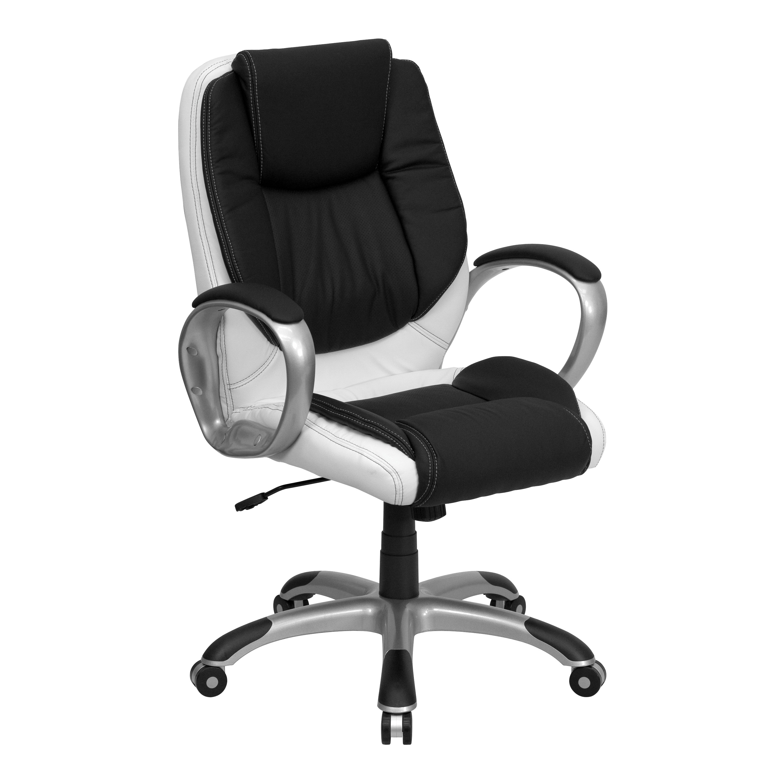 Mid Back Black and White Leather Executive Swivel fice Chair