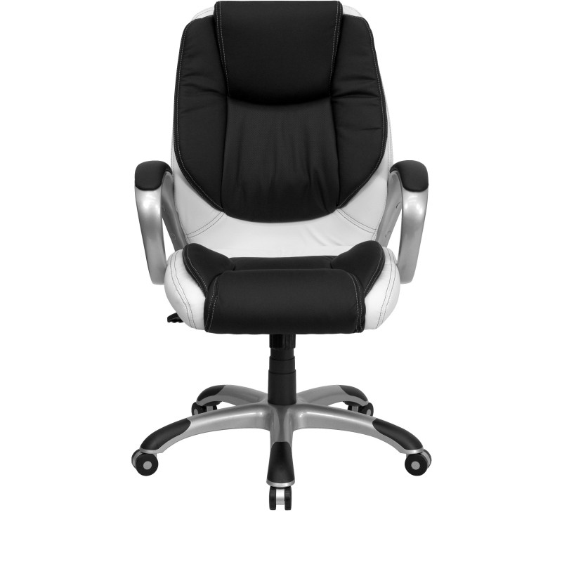 black and white leather office chair. white leather ribbed office