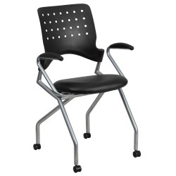 Galaxy Mobile Nesting Chair with Arms and Black Leather Seat