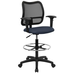 Mid-Back Mesh Drafting Stool with Navy Blue Fabric Seat and Arms