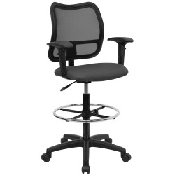 Mid-Back Mesh Drafting Stool with Gray Fabric Seat and Arms