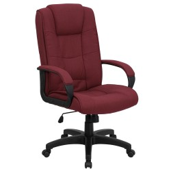 High Back Burgundy Fabric Executive Office Chair