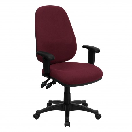 High Back Burgundy Fabric Ergonomic Computer Chair with Height Adjustable Arms