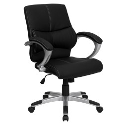 Mid-Back Black Leather Contemporary Manager's Office Chair