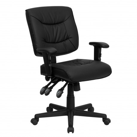 Mid-Back Black Leather Multi-Functional Task Chair with Height Adjustable Arms