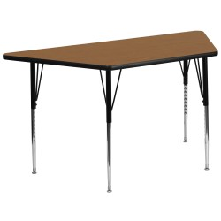 30''W x 60''L Trapezoid Activity Table with Oak Thermal Fused Laminate Top and Standard Height Adjustable Legs
