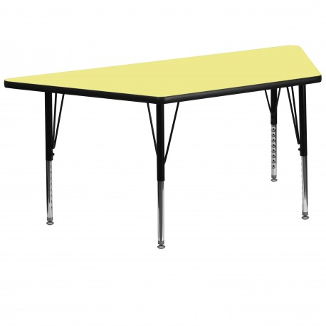 30''W x 60''L Trapezoid Activity Table with Yellow Thermal Fused Laminate Top and Height Adjustable Pre-School Legs