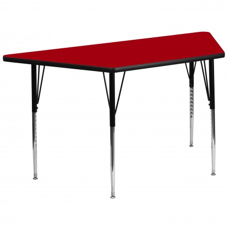 30''W x 60''L Trapezoid Activity Table with Red Thermal Fused Laminate Top and Standard Height Adjustable Legs