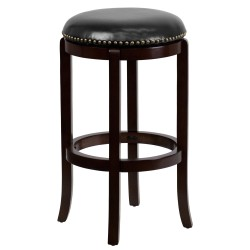 29'' Backless Cappuccino Wood Bar Stool with Black Leather Swivel Seat