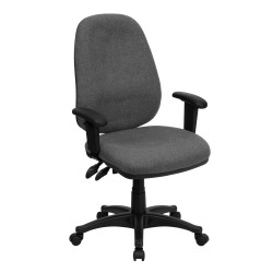 High Back Gray Fabric Ergonomic Computer Chair with Height Adjustable Arms