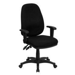 High Back Black Fabric Ergonomic Computer Chair with Height Adjustable Arms
