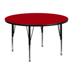 48'' Round Activity Table with Red Thermal Fused Laminate Top and Height Adjustable Pre-School Legs