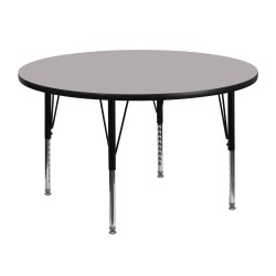 48'' Round Activity Table with Grey Thermal Fused Laminate Top and Height Adjustable Pre-School Legs