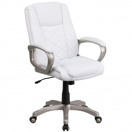High Back White Leather Executive Office Chair with Gold Nylon Base
