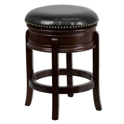24'' Backless Cappuccino Wood Counter Height Stool with Black Leather Swivel Seat