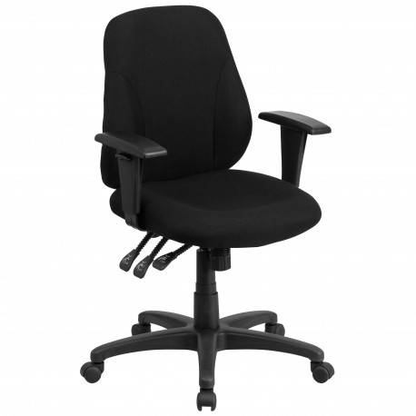 Mid Back Black Fabric Multi Functional Ergonomic Chair With Height  Adjustable Arms With Height