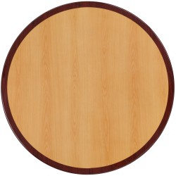 48'' Round Two-Tone Resin Cherry and Mahogany Table Top