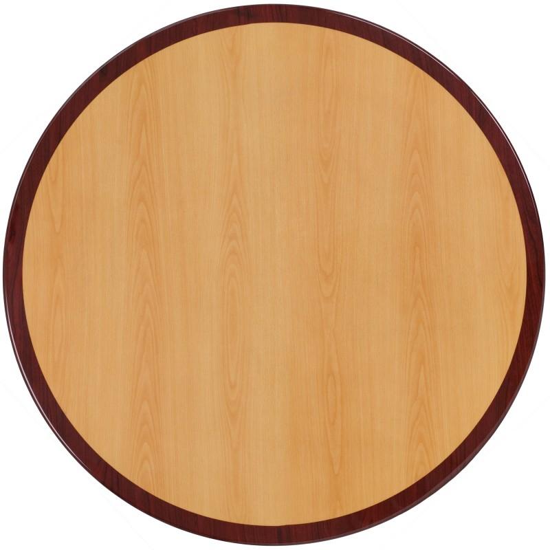 48u0027u0027 Round Two Tone Resin Cherry And Mahogany Table Top