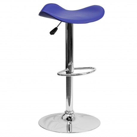 Contemporary Blue Vinyl Adjustable Height Bar Stool with Chrome Base